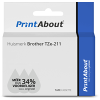 Huismerk Brother TZe-211 Tape Zwart op wit (6 mm)