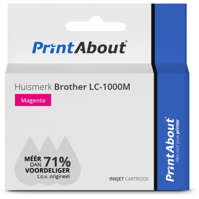 Huismerk Brother LC-1000M Inktcartridge Magenta
