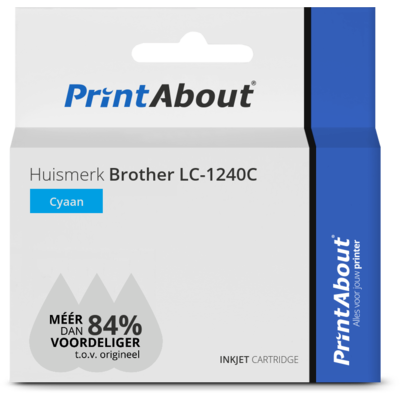Huismerk Brother LC-1240C Inktcartridge Cyaan