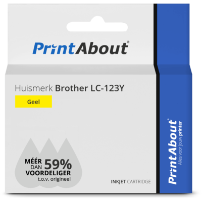 Huismerk Brother LC-123Y Inktcartridge Geel